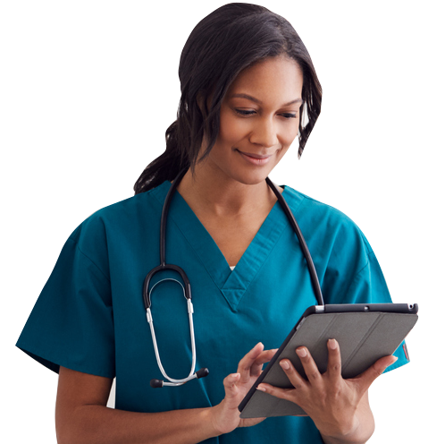 nurse with tablet